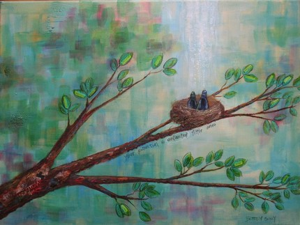Brittany Cottage Road Designs bird nest painting